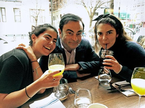 Ghosn with daughters