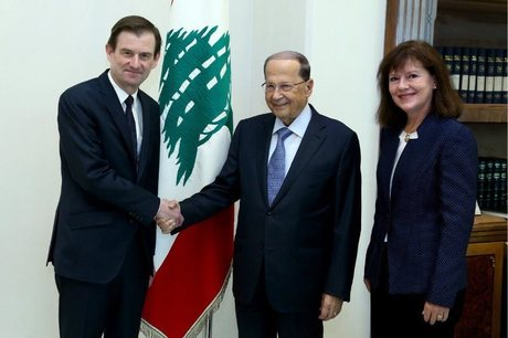 Lebanon President Michel Aoun held talks at Baabda Palace with U.S. Under Secretary of State for Political Affairs David Hale, in the presence of U.S. ambassador Elizabeth Richard and an embassy delegation,