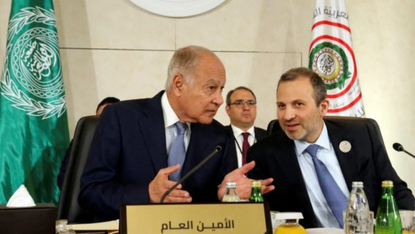 Mohamed Azakir, Reuters | Arab League Secretary-General Ahmed Abul Gheit gestures as he talks with Lebanese Foreign Minister Gebran Bassil, at a pre Arab Economic and Social Development summit meeting in Beirut, Lebanon, on January 18, 2019.