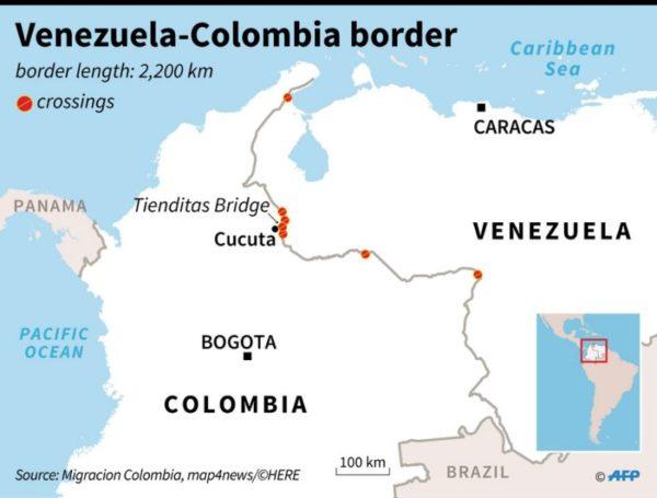 columbia Venezuela border map
