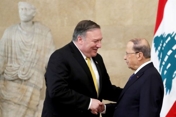 U.S. Secretary of State Mike Pompeo, left, meets with Lebanon's President Michel Aoun at the presidential palace in Baabda on March 22, 2019. Pompeo is on a regional tour to build a united front against Iran.