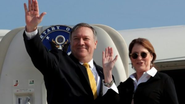 US Sec of State Mike Pompeo and his wife Susan are on a regional tour, with a final stop in Lebanon Pompeo and his wife Susan are on a regional tour, with a final stop in Lebanon POOL/AFP