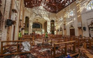 A view of St. Sebastian's Church damaged in blast in Negombo, north of Colombo, Sri Lanka, April 21, 2019 hit by one of eight blasts that rocked churches and hotels in and just outside of Sri Lanka's capital on Easter Sunday. (AP/Chamila