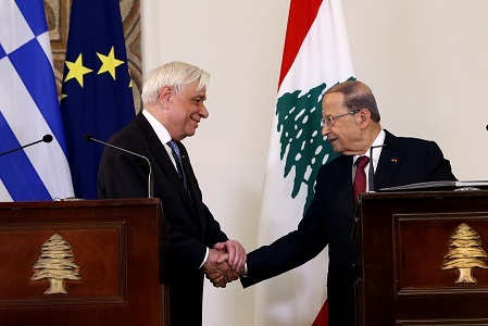 President Michel Aoun and visiting Greek President Prokopis Pavlopoulos