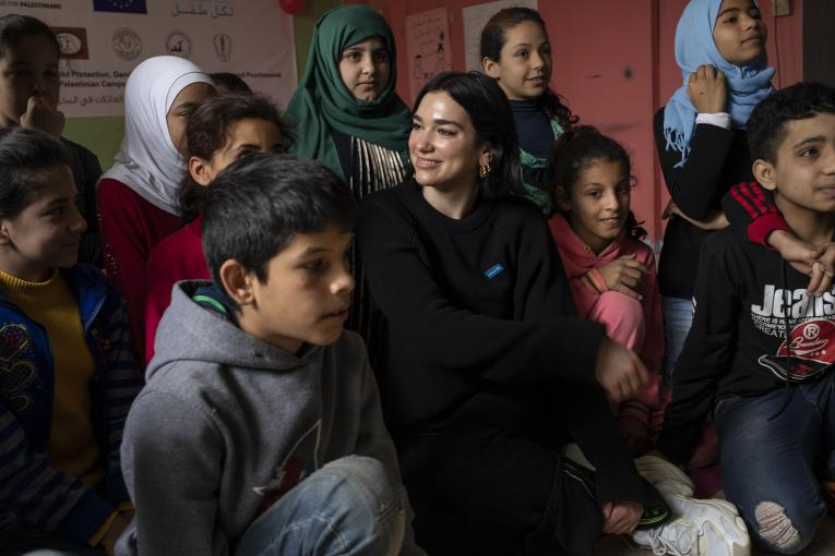 UNICEF supporter and singer/songwriter Dua Lipa visits children at the Najedh Association, a local NGO, in the Bourj el Barajneh Palestinian camp in Beirut, Lebanon, April 14, 2019. UNICEF has been working with the Ministry of Education and Higher Education to improve access to formal education for both Lebanese and non-Lebanese children.