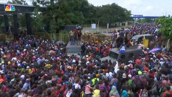 migrant caravan at US border with Mexico