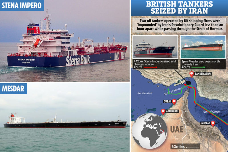 """THE UK has warned of """"serious consequences"""" after Iran last night sparked a new Gulf crisis by seizing two British oil tankers in the Strait of Hormuz."""