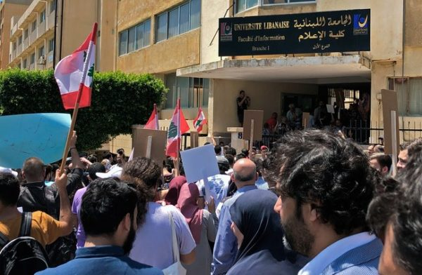Activists in Beirut protesting funding cuts to the Lebanese University. Lebanon's political leaders hope to impose austerity measures without reforming a political system renowned for its dysfunction.