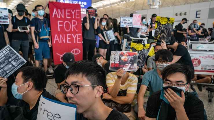Protesters occupy the departure hall of the Hong Kong International Airport during a demonstration on August 12, 2019 in Hong Kong, China.