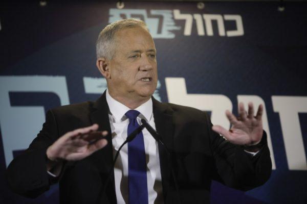 Blue and White party leader Benny Gantz delivers a statement Sept. 19 in Tel Aviv.(Sebastian Scheiner / Associated Press)