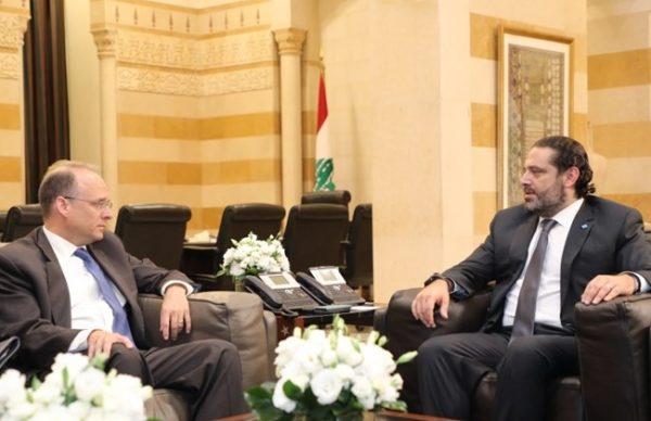 Prime Minister Saad Hariri receives the U.S. Treasury's assistant secretary for terrorist financing, Marshall Billingslea on Sept. 23, 2019. ( Dalati Nohra,  )