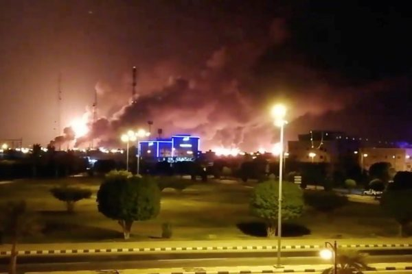 Smoke billowing after a fire at a Saudi Aramco factory in Abqaiq, Saudi Arabia, on Saturday. PHOTO: VIDEOS OBTAINED BY REUTERS/REUTERS