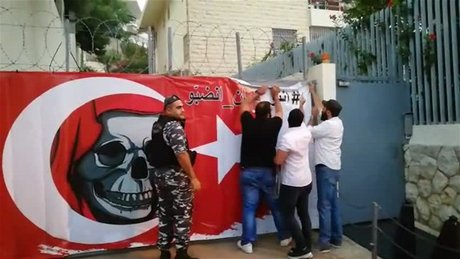 anti turkey banner lebanon