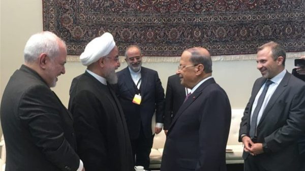President Michel Aoun met on Wednesday with Iran's President Hassan Rouhani after delivering his speech at the General Assembly. The meeting was held in the presence of Minister of Foreign Affairs Gebran Bassil and his Iranian counterpart Mohammad Javad Zarif.