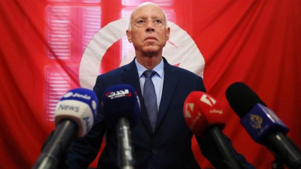 Presidential candidate Kais Saied addresses a news conference after the first round of Tunisia's election [Muhammad Hamed/Reuters]