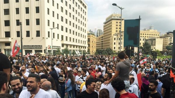 Protesters gathered in Riad al-Solh Square in the heart of downtown Beirut on Friday [Kareem Chehayeb/Al Jazeera]