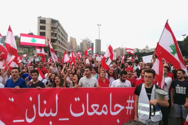 University students take to Lebanon streets as protests grow